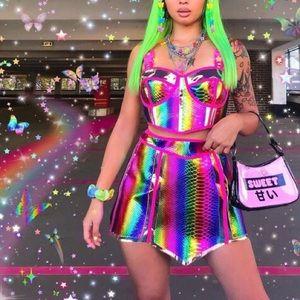 🌈 Rainbow Prismatic Empress Hologram Skirt